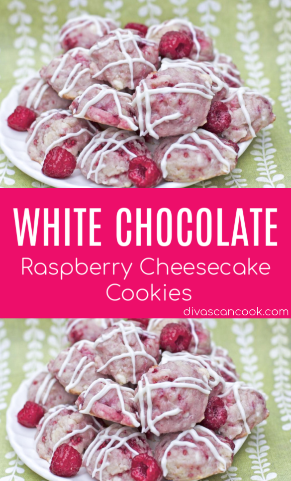 White Chocolate Raspberry Cheesecake Cookies #whitechocolateraspberrycheesecake