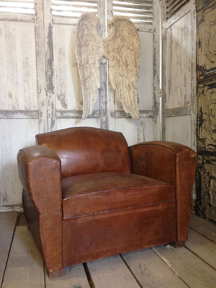 Rare Large Vintage Old French Brown Leather Club Chair