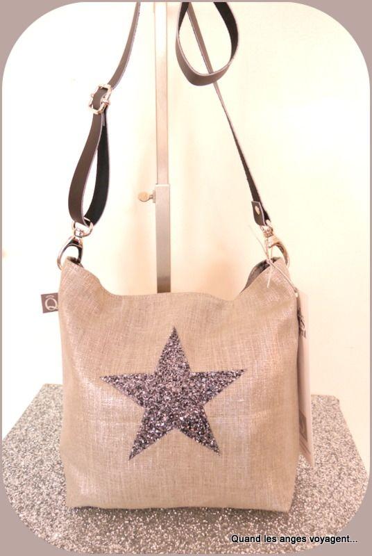 b8a325bd80 Sac bandoulière en lin argenté et étoile en paillettes anthracite : Sacs  bandoulière par les-etoiles-des-anges