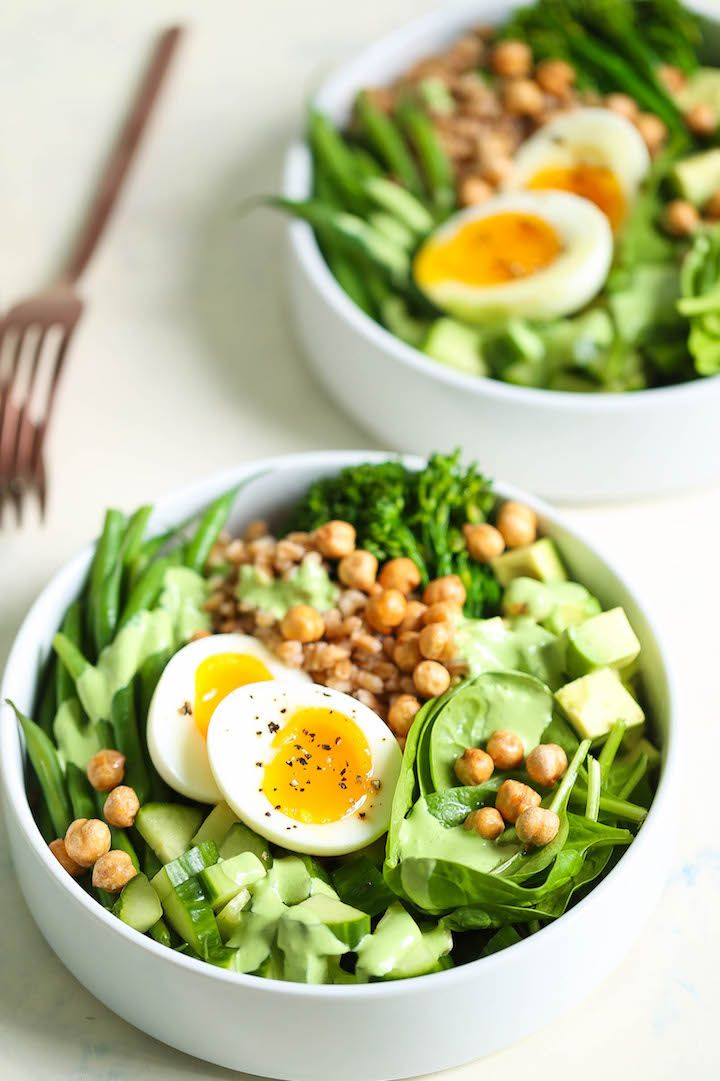 Green Goddess Bowls - A healthy, glowing grain bowl that is so bright and GREEEN! Loaded with spinach, broccolini, green beans, cucumber, avocado, tarragon, mint and the best goddess dressing ever!