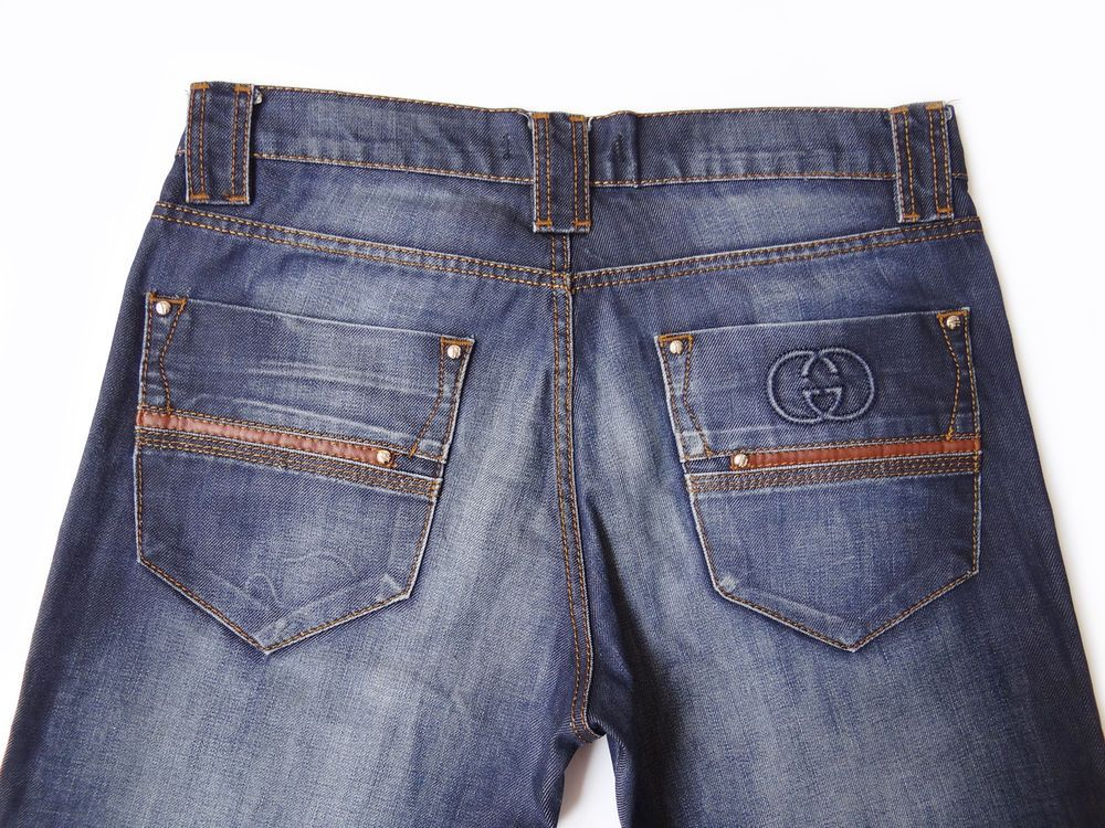 b9bc7de468 Gucci Men's Medium Blue Jeans Size 33 Stonewashed GG Logo Made in ...