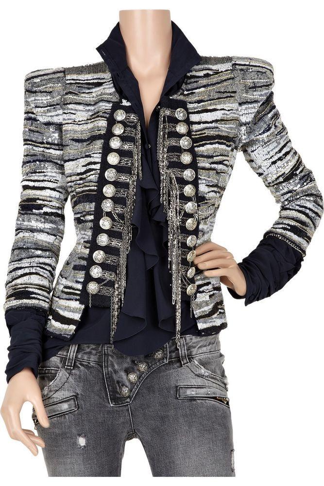 $15,805 BALMAIN Sequin-embellished military jacket #balmain #BasicJacket