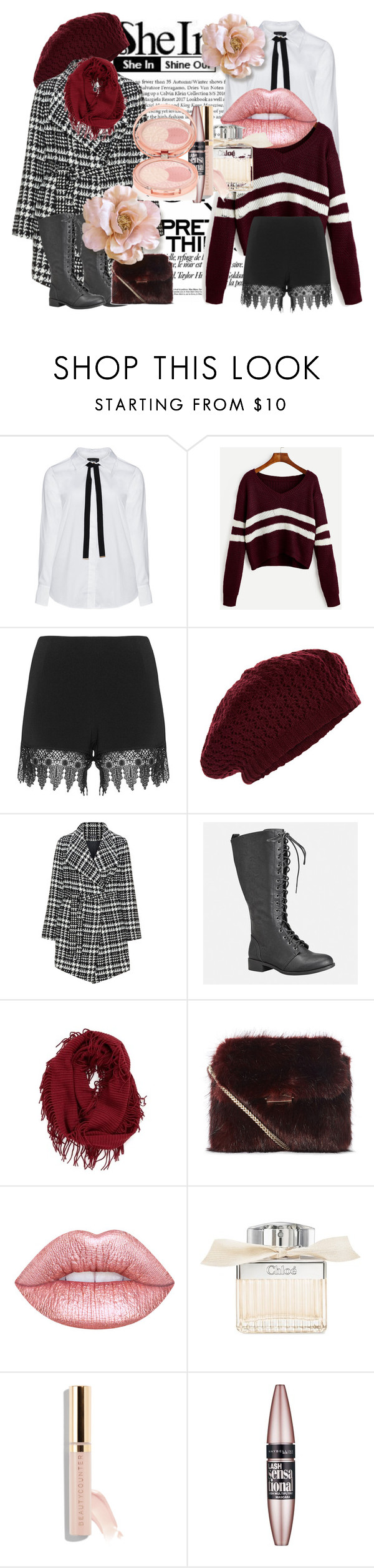 """Vínové pruhované V Neck Crop Sweater"" by patkova-v ❤ liked on Polyvore featuring Zizzi, JunaRose, Accessorize, Samoon, Avenue, BP., Chloé, Beautycounter, Maybelline and By Terry"