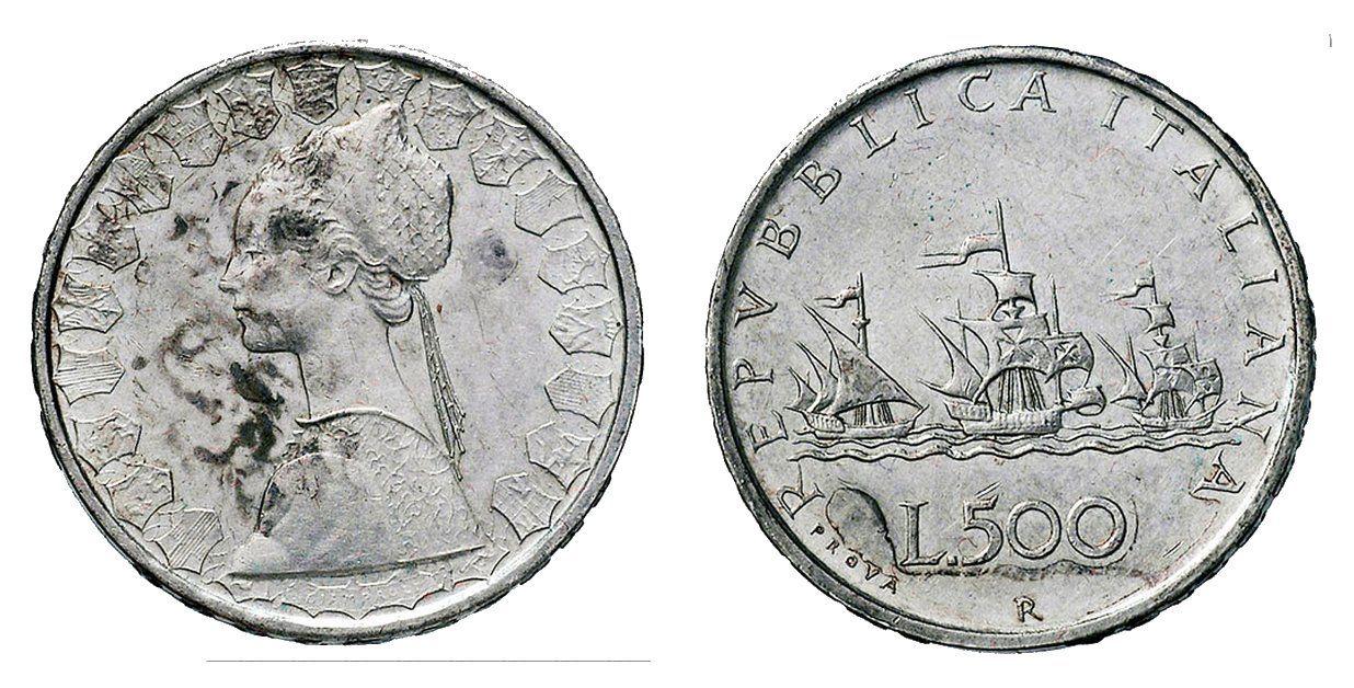 500 Lire Vele Al Contrario Soldi Monete Lira Italiana E