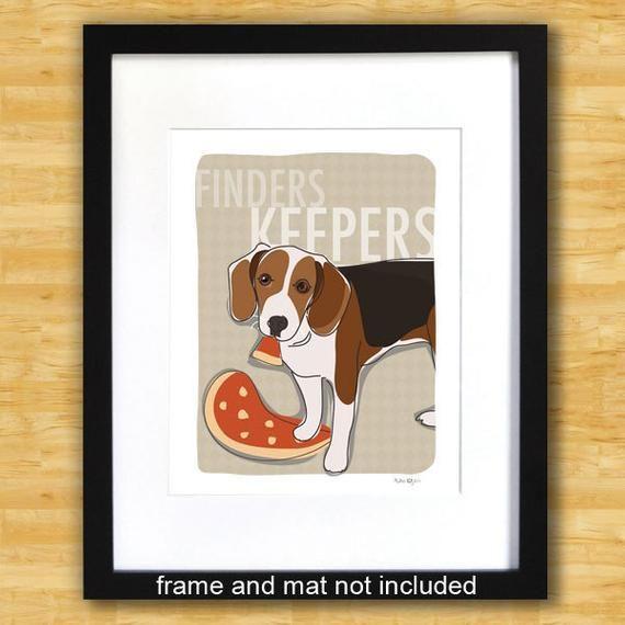 Beagle Art Print Finders Keepers Funny Beagle Gifts Dog Art