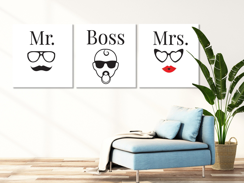 Mr Mrs And Baby Boss Minimalist Wall Art Design Canvas 3 Etsy In 2020 Minimalist Wall Art Cool Wall Art Wall Art Designs