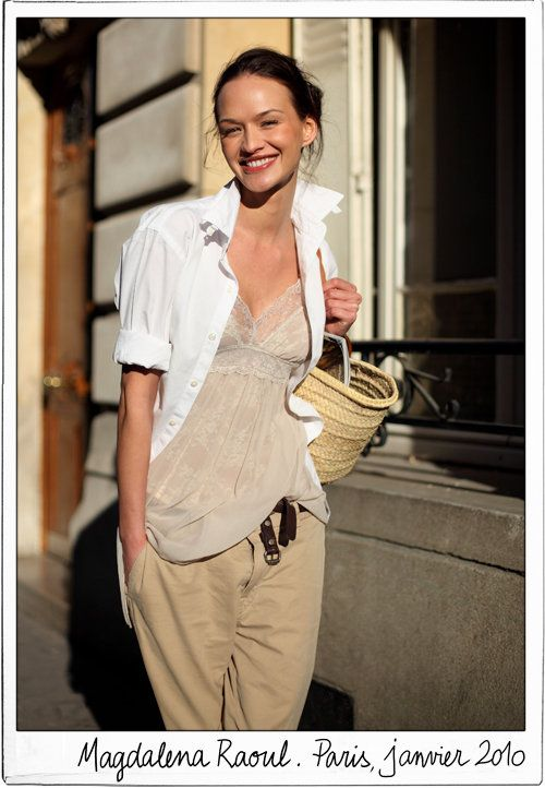 Lace-Trimmed Silk Camisole with Khakis and a Men's Shirt
