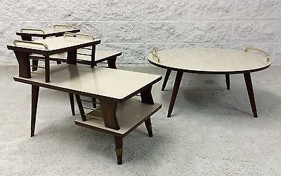 Mid Century Modern Atomic Retro Tables 3 Tier Side Tables And Round Cocktail Table Coffee Table Dining Table