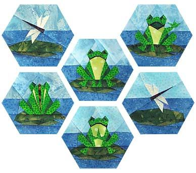 Happy Frog Family Paper Pieced Quilt Pattern Paper