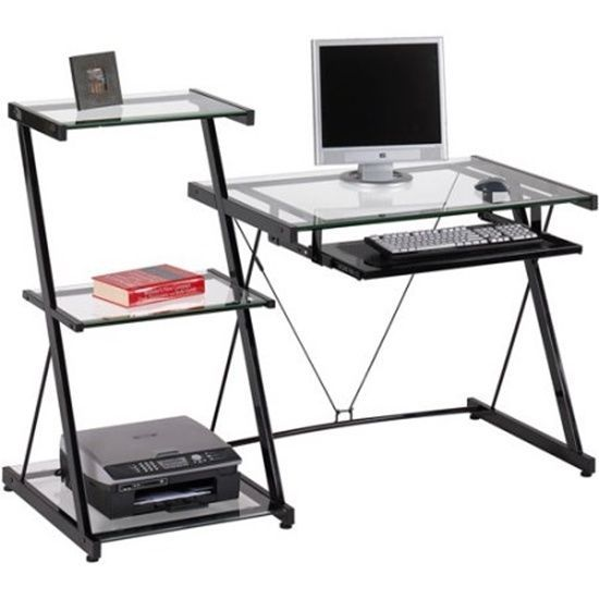 Studio Computer Desk And Bookcase 3 Shelves Glass Top Slide Out
