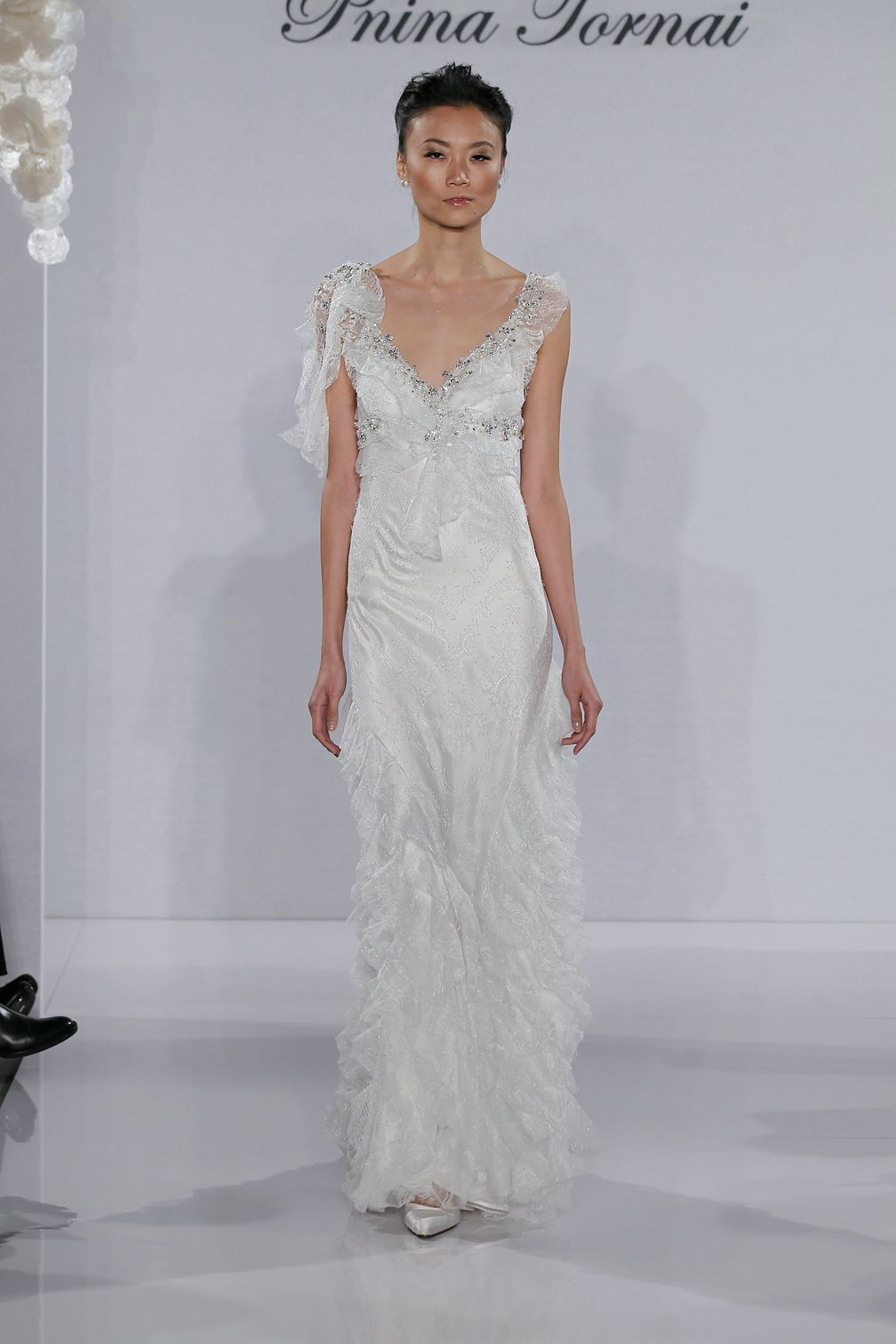 Bridal gowns pnina tornai sheath wedding dress with vneck neckline