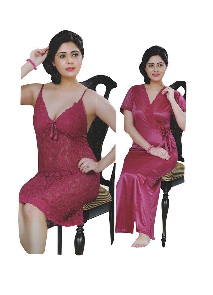 452baed6e7c Indiatrendzs Women Satin Nighty With Robe Net Transparent Pink Short Night  Dress