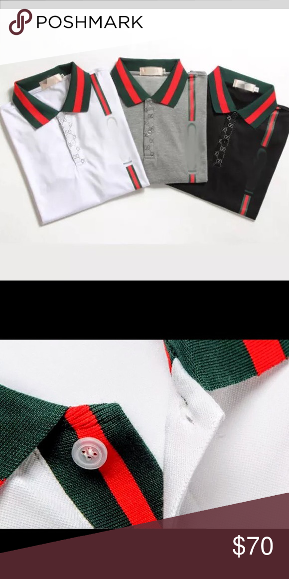 944782ebd22 NWT Men s Gucci Polo Brand new! White with Signature Green   Red Stripes.  Gucci Shirts Polos