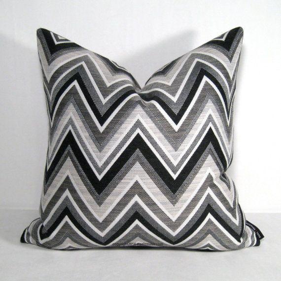 Pair Black White Grey Outdoor Pillow Cover Two Modern Chevron