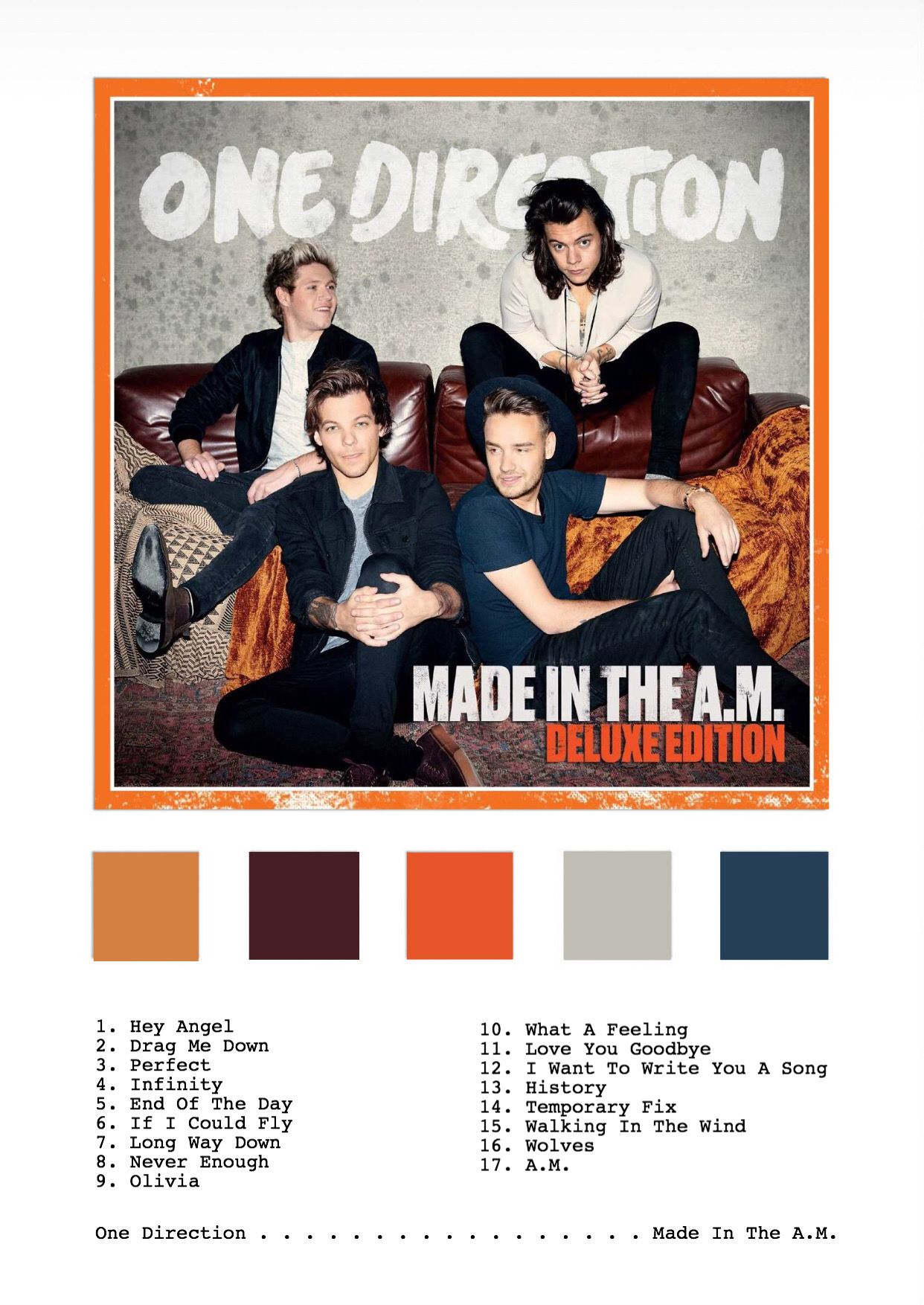 One Direction Made In The A M Album Print Onedirection 1d Harrystyles Niallhora One Direction Songs One Direction Albums One Direction Posters