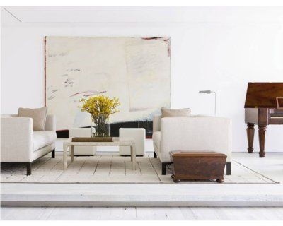 """antique barn flooring was bleached white and lends tremendous character to the otherwise rectilinear geometry."""" Daryl Carter"""