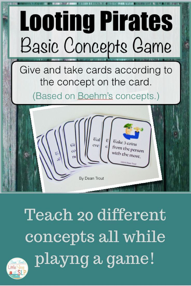 Basic Concepts For Speech Therapy Looting Pirates Game | Worksheets ...