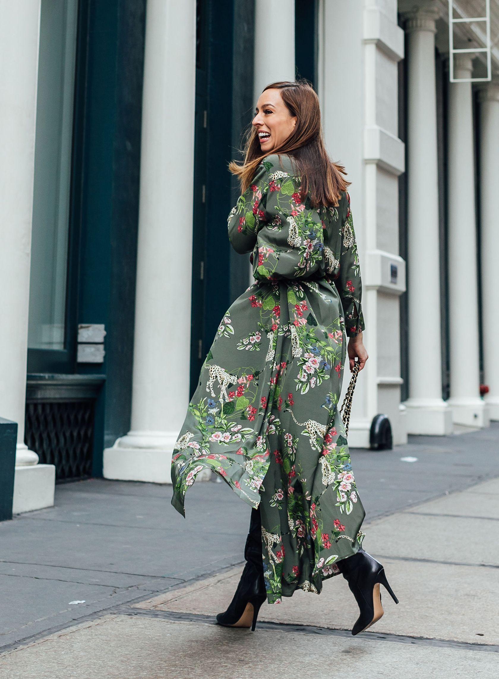 9a8a06f96 Sydne Style wears l'agence green jungle print floral dress at new york  fashion week #florals #leopard #prints #green #shirtdress #maxidress  @sydnesummer