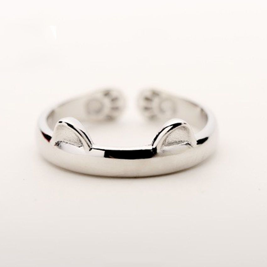 Cute Cat Ears Ring 925 Silver Cat Paw Finger Open Ring For ...