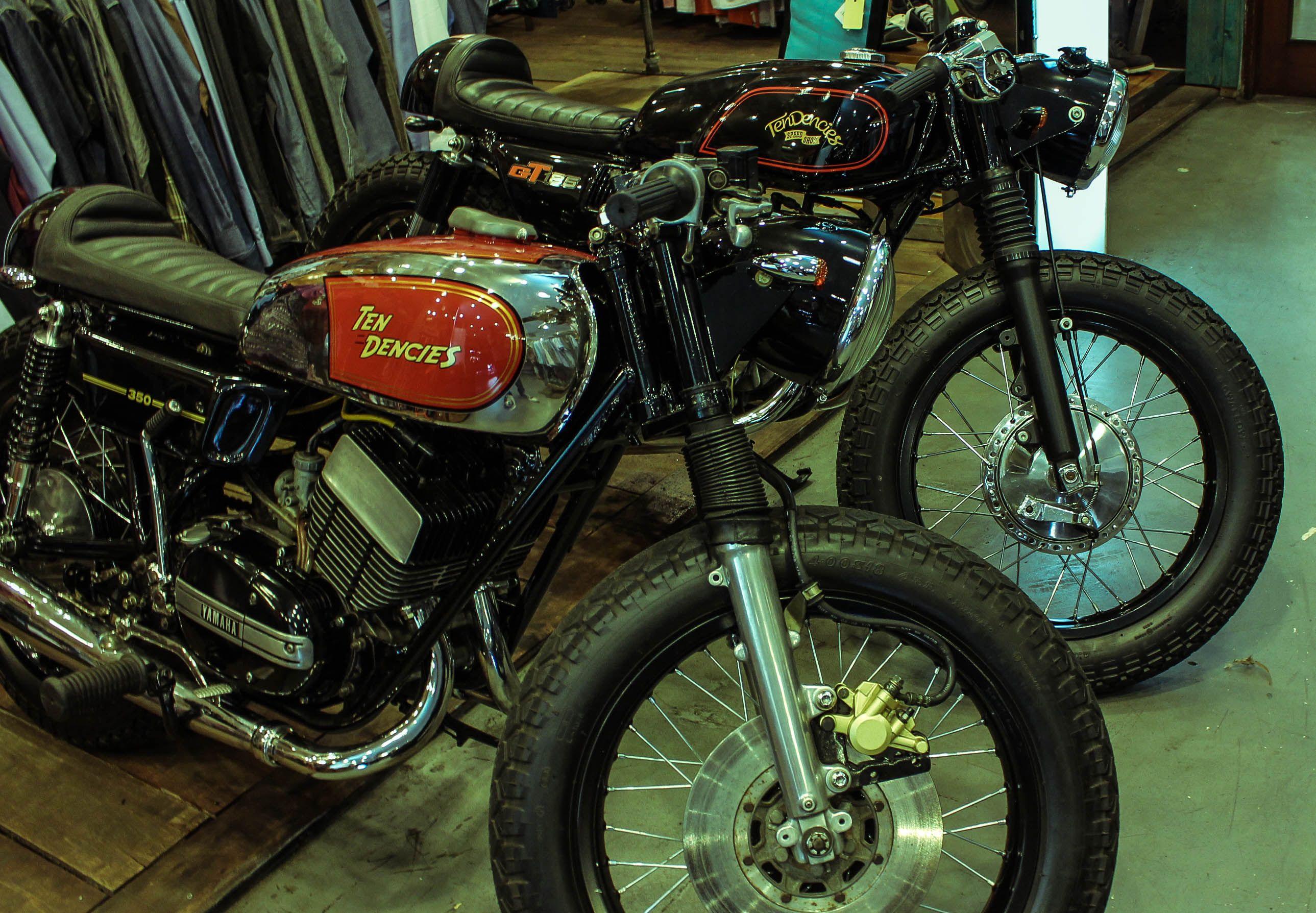 10dencies Customs Yamaha Rd 350 And Suzuki Gt 185 Cafe Racer Design Motorcycle Design Cafe Racer