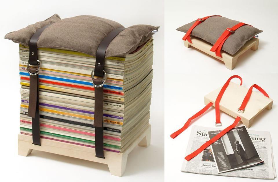 Sgabello con riviste legno nel regali di natale fai da te