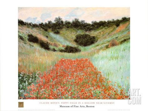 Poppy Field In A Hollow Art Print by Claude Monet at Art.com