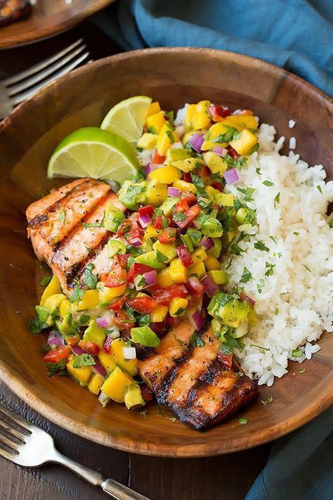 Grilled lime salmon with avocado and mango salsa and coconut rice -  Grilled lime salmon with avoca
