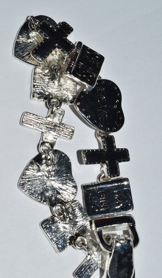 Bracelet SIlver Plated Love Holy Bible and Cross by eventsmatters
