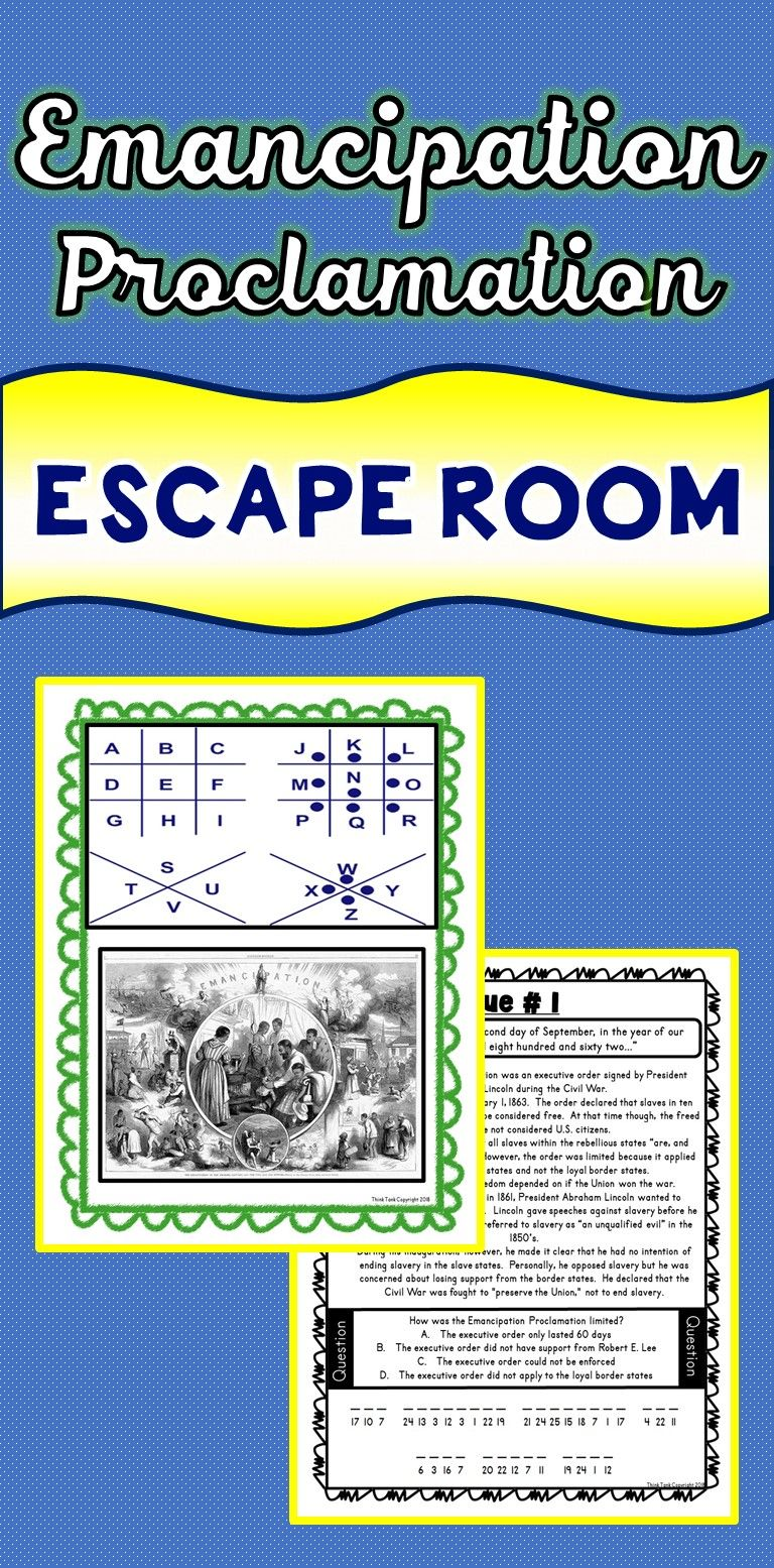 The Emancipation Proclamation Escape Room Will Take Students On A Secret Social Studies Elementary Elementary Social Studies Lessons Social Studies Worksheets