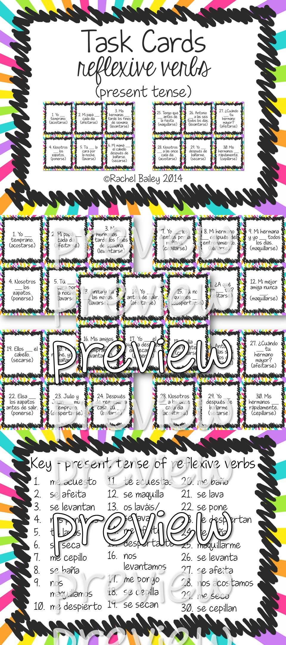 Task Card Set Reflexive Verbs In Spanish My Tpt Store