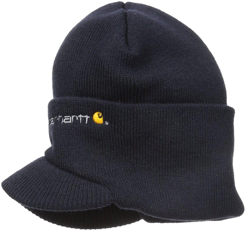 5d59b103195af Men s Knit Hat With Visor - Navy - C1113H0VFIN - Hats   Caps