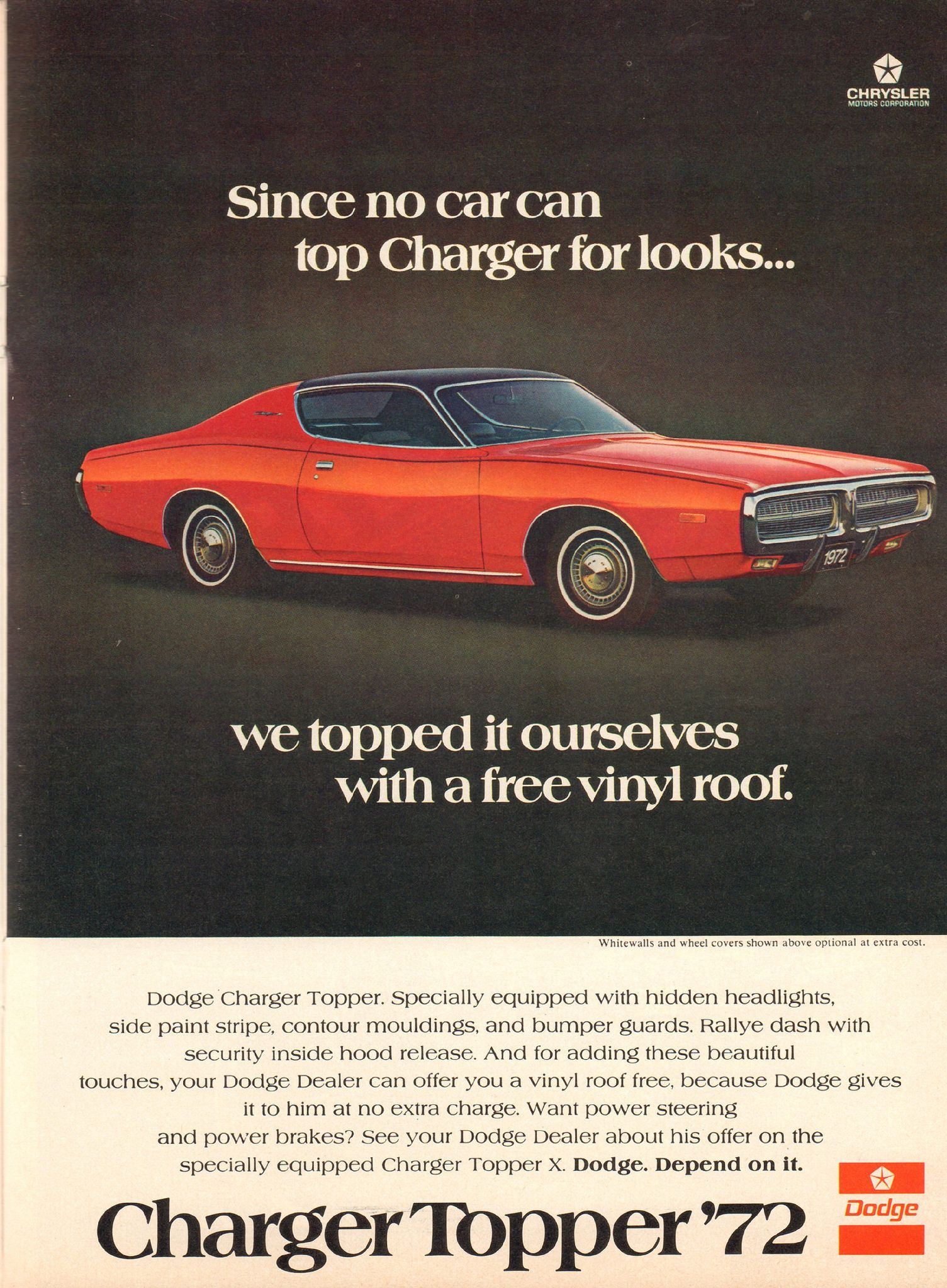 1972 Dodge Charger Topper Advertisement Hot Rod Magazine