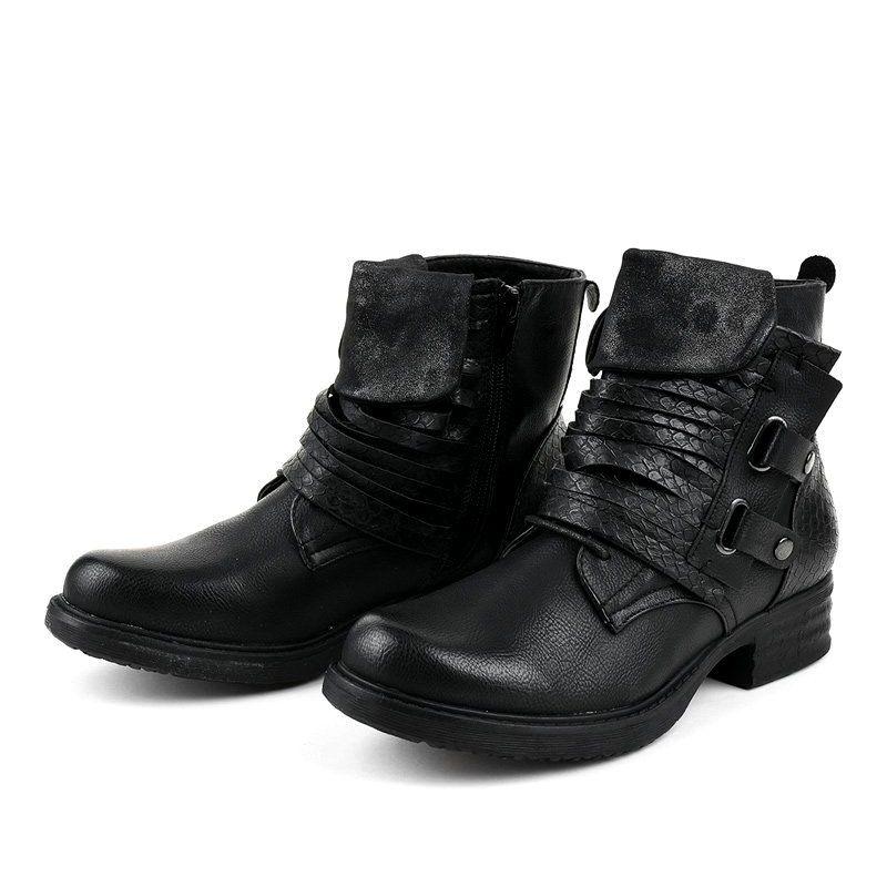 Czarne Plaskie Botki Ocieplane Fm563 Shoes Biker Boot Boots