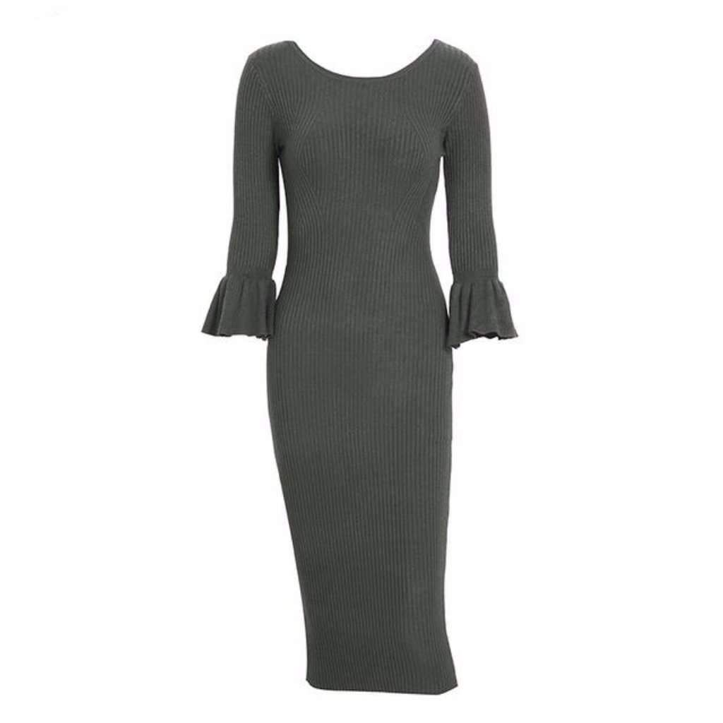 Ribbed knit bell sleeve bodycon dress for women rib knit and products