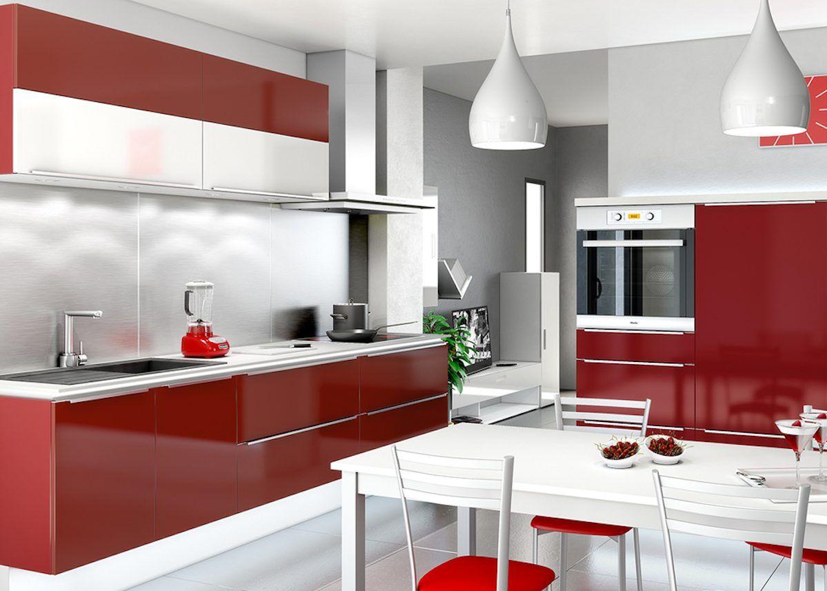 Cuisine blanche et rouge id es shopping d co - Clem Decoration