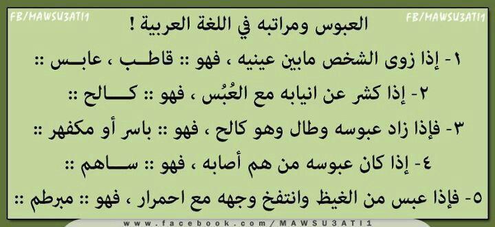 العبوس في اللغة العربية Beautiful Arabic Words Talking Quotes Words