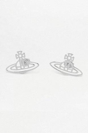 Vivienne Westwood Thin Lines Flat Orb Silver Stud Earrings