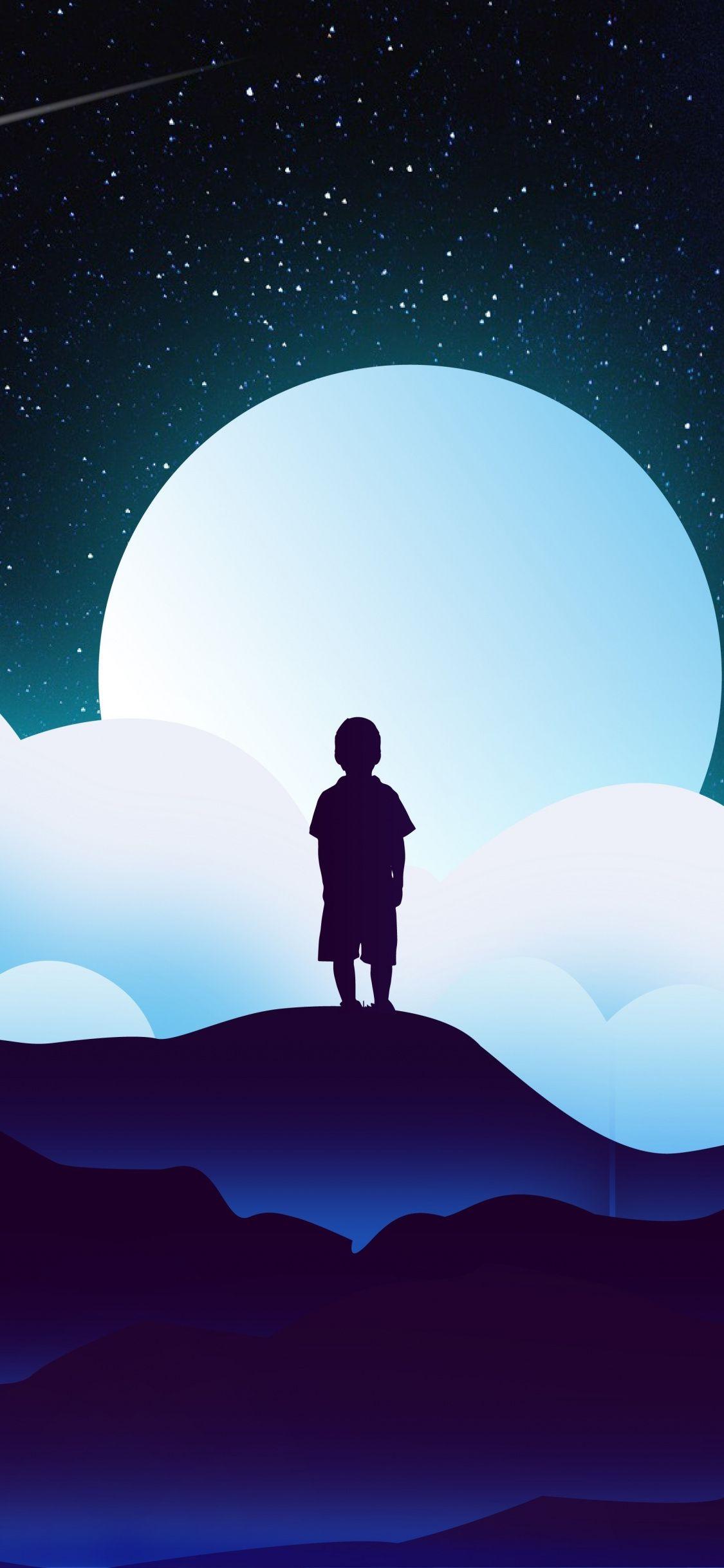 Fantasy Art Child Silhouette Clouds Moon Space 1125x2436 Wallpaper Infinity Wallpaper Wallpaper Fantasy Art Children