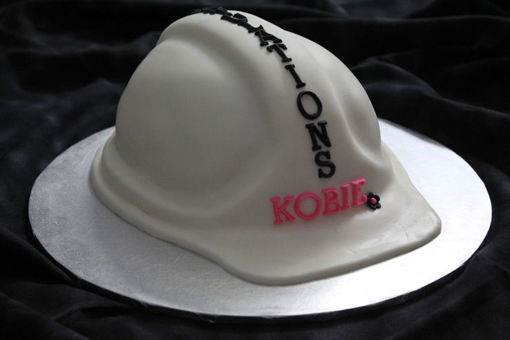 White hard hat shaped cake  bc99c01d3e9