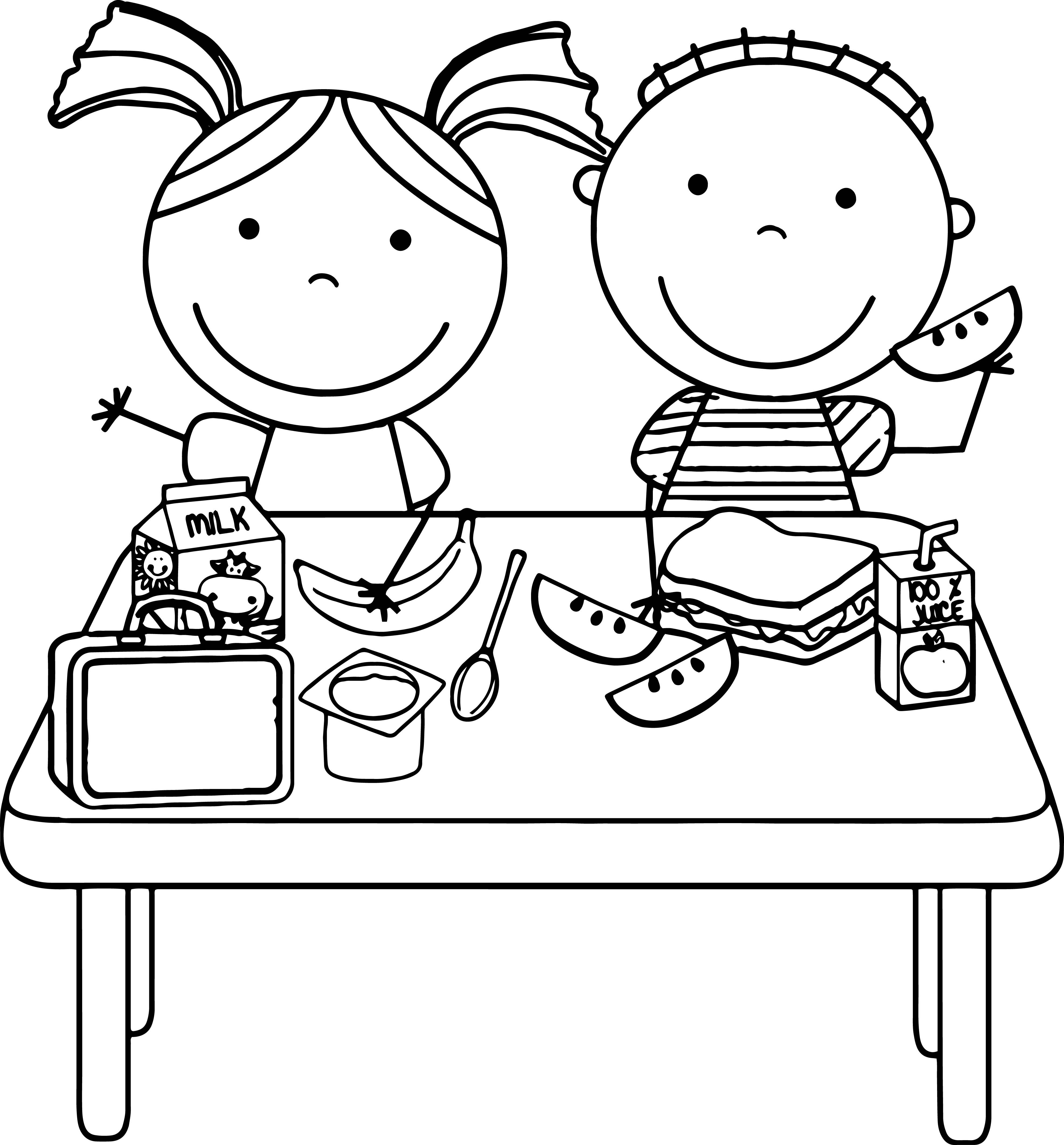 Awesome Kids Eating Lunch Kids Coloring Page Food Coloring Pages