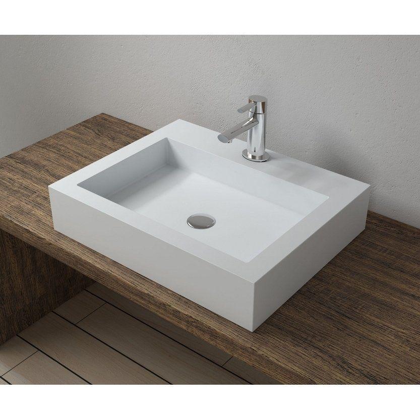 23 X18 Polystone Rectangular Vessel Bathroom Sink In Glossy Or