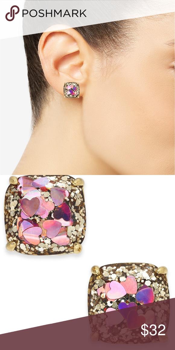 923964667 NWT**Kate Spade Heart Glitter Square Stud Earrings Heart-shaped glitter  lends a flirty appeal to these square stud earrings by kate spade new york.