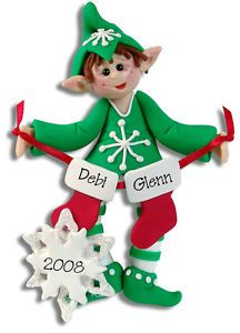 personalized elf family couples christmas ornament polymer clay by