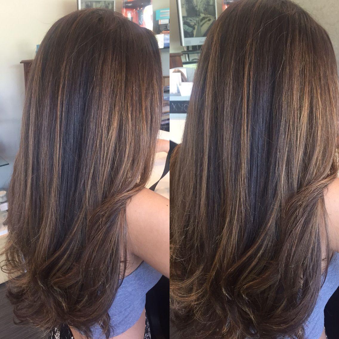 Balayage Highlights On Natural Dark Hair Long Hair Ombre Painted Hair Hair Color Blon Natural Dark Hair Dark Hair Balayage Ombre Natural Blonde Highlights