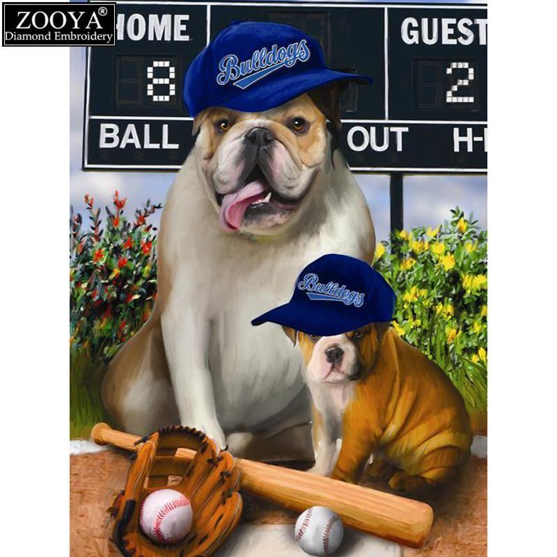 Diy Diamond Painting Baseball Dogs Dog Art Dogs Wood Art