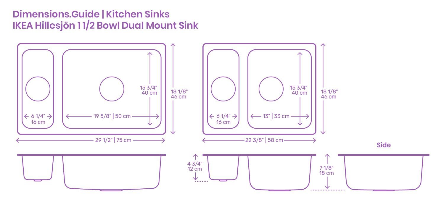 The Ikea Hillesjon 1 5 Dual Mount Kitchen Sink Is A Two Bowl Sink That Either Is Glued Or Insert Into A Countertop The S In 2020 Kitchen Sink Sink Large Kitchen Sinks