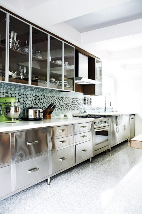 Stainless Steel Kitchen White Flat Panel Cabinets Cabinet Metal Gabinetes Cocina Cocinas