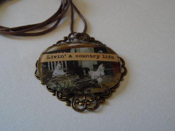 Livin' a Country Life Original Vintage Eyeglass Pendant Jewelry by sweetlyuntiquebtq. Explore more products on http://sweetlyuntiquebtq.etsy.com