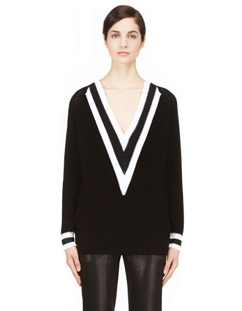 Band Contrast Knit V Neck Long Sweater