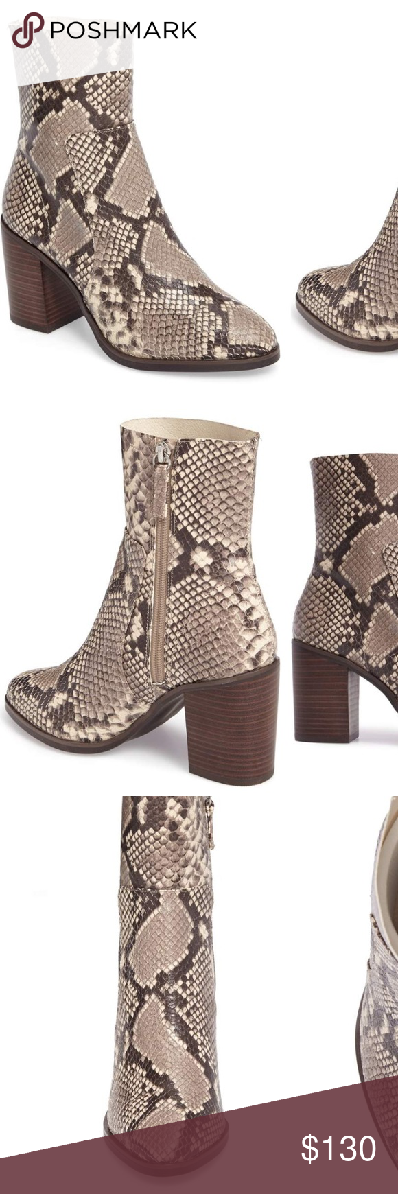 3d20cceb54 Steve Madden Snakeskin Rewind Bootie looks SO good on. I'm selling and very  sad about it but need the money instead :( block heel is 3.5 height, ...